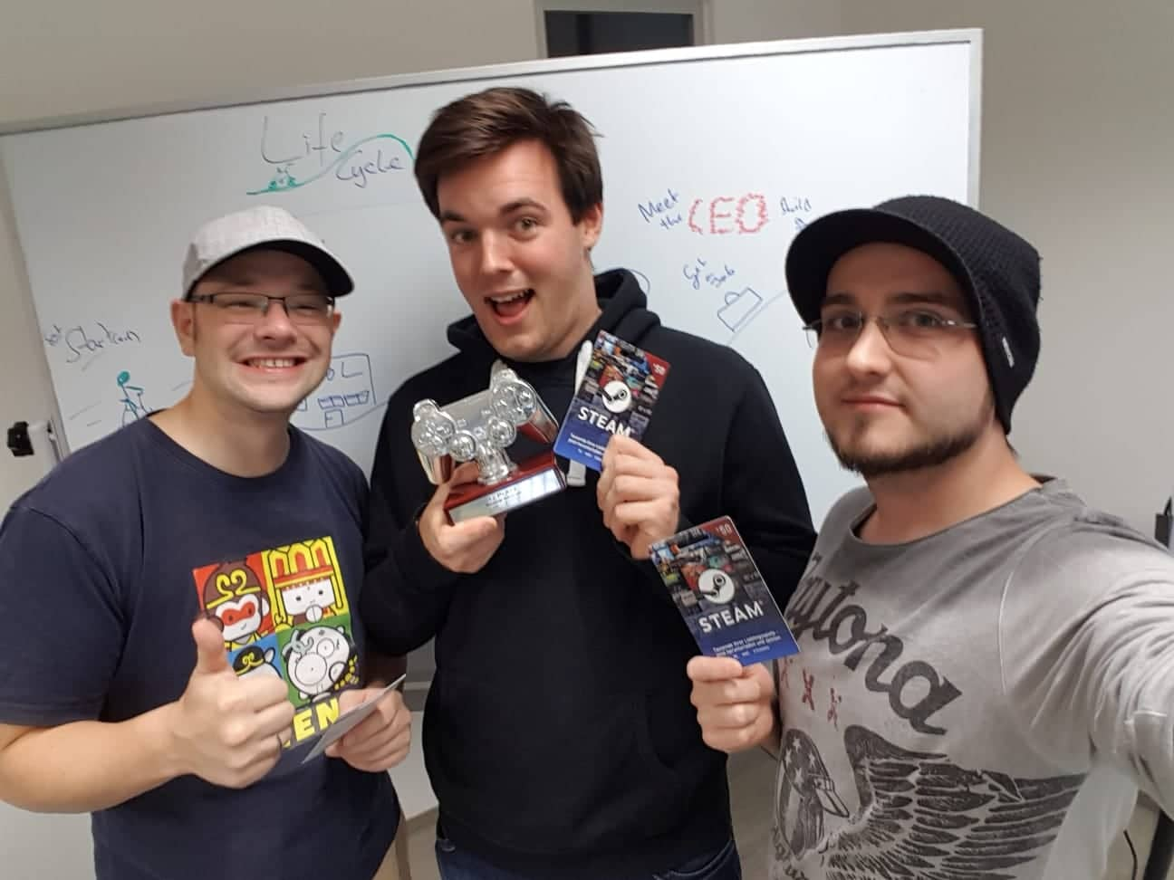 The team is shown from left to right: Till, Kai and Eugen
